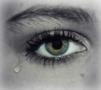Eye with tear